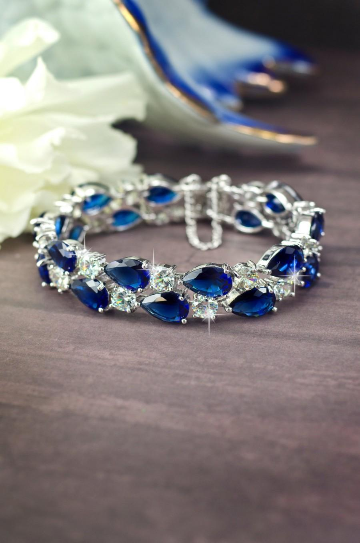 Mariage - blue bridal bracelet sapphire Blue bracelet cubic zirconia bracelet Wedding bracelet Navy blue bracelet crystal bracelet Something blue