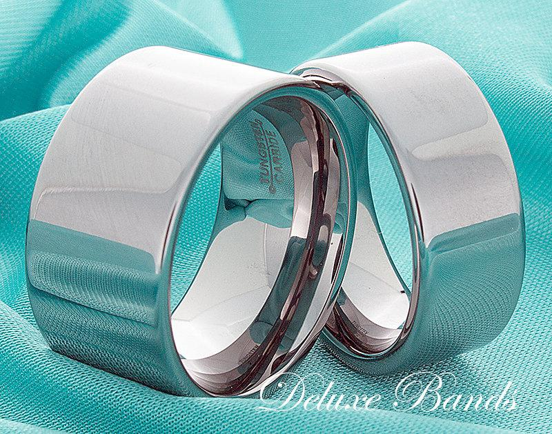 Mariage - Tungsten Wedding Bands 12mm 9mm High Polished Pipe Cut Mens Womens His Hers Matching Rings Anniversary Promise Commitment Couple Comfort Fit