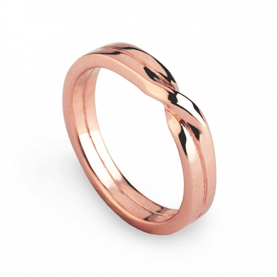 Love Knot Ring Rose Gold Wedding Band Unique Mens Wedding Band