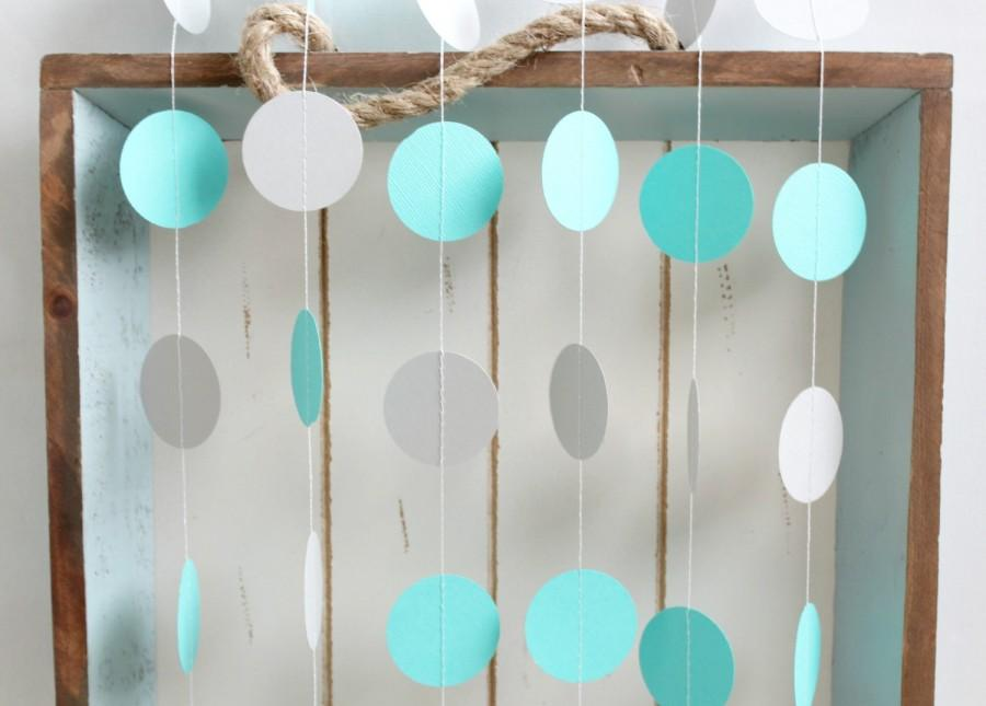 Hochzeit - Turquoise and Grey 12 ft Circle Paper Garland- Wedding, Birthday, Bridal Shower, Baby Shower, Party Decorations