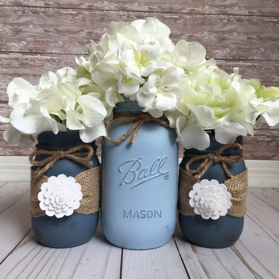 Mason Jar Wedding Centerpieces.Beach Wedding Jars Painted Mason Jars Wedding Table Centerpiece