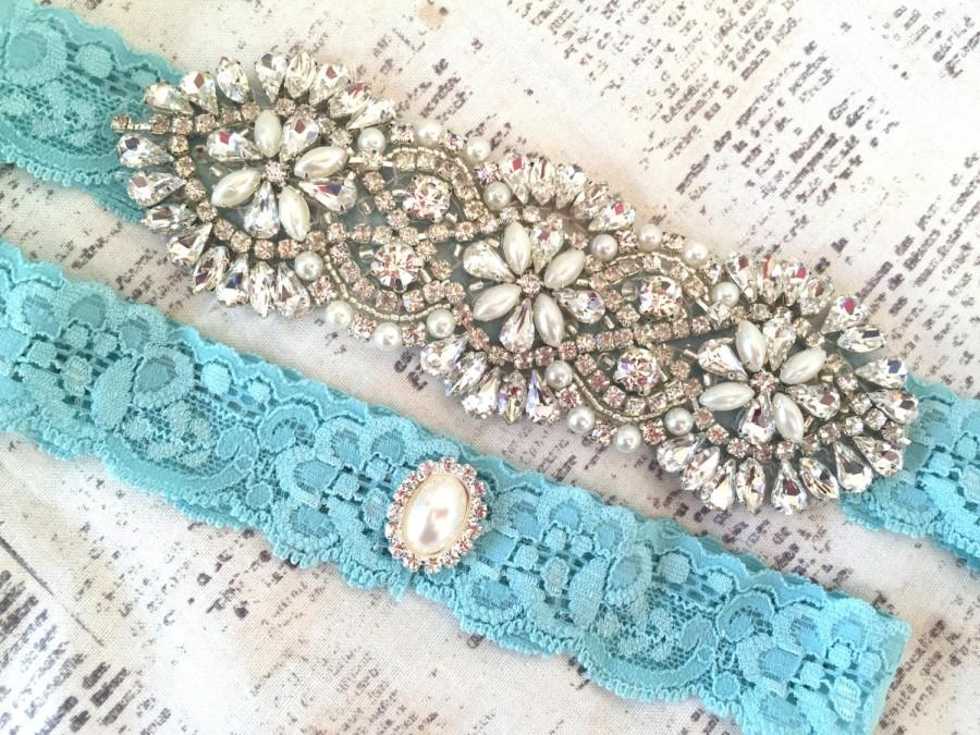 Mariage - Aqua Wedding Garter, Aqua Garter Set, Blue Garter, Blue Wedding Garter, Something Blue Garter Set, Turquoise Garters, Blue Garter Set