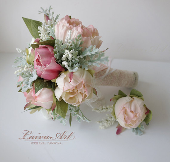 Wedding - Wedding Bouquet Bridal Bouquet Small Peony Bouquet Peony Bouquet Bridesmaid Bouquet
