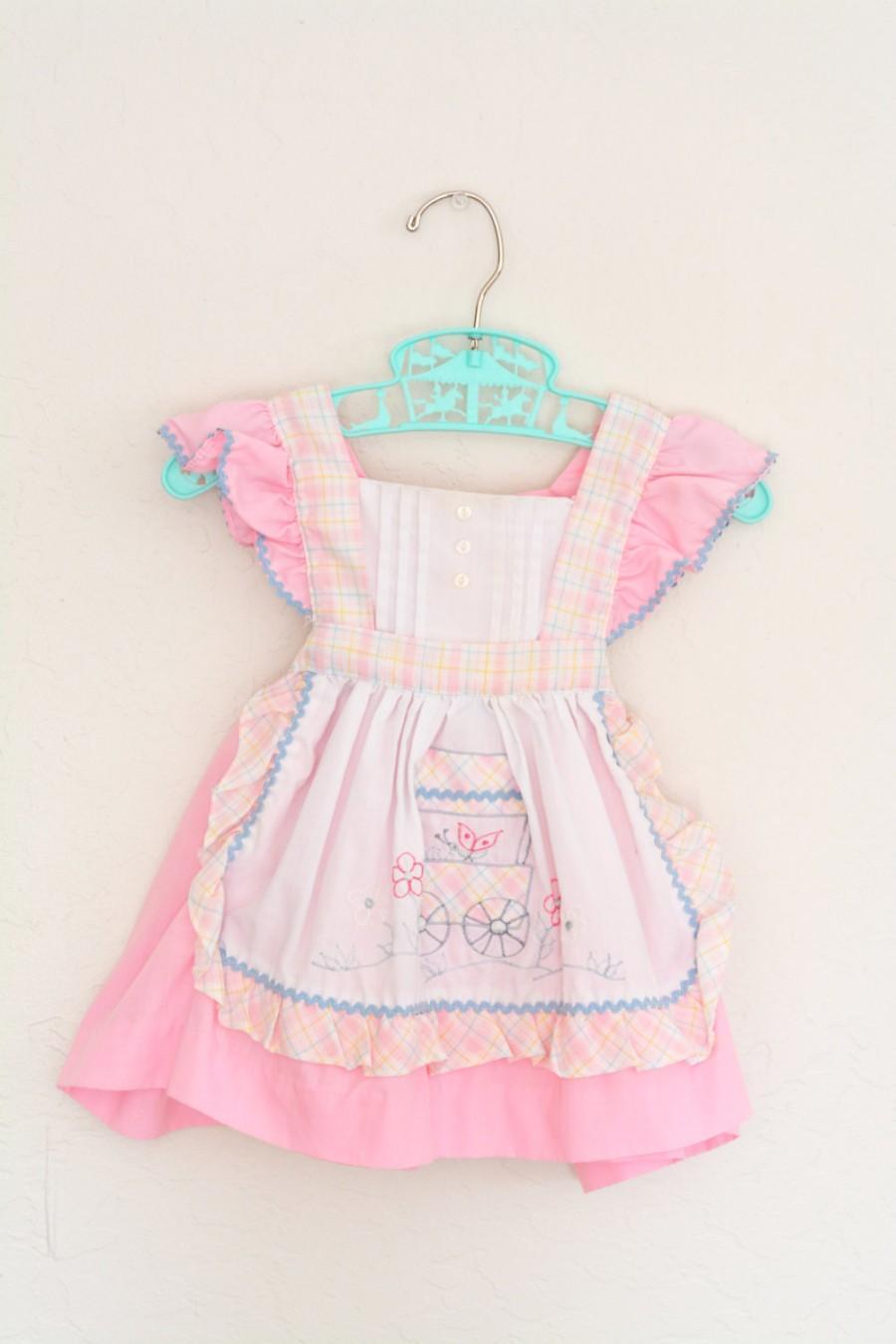 Wedding - SALE Vintage Pinafore Sundress Cradle Togs with Bonnet