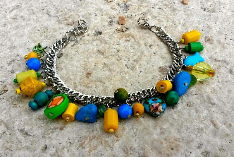 Charm Bracelet Mixed Media Chunky Birthday Gift For Sister Summer Sea Multicolor Cheerful Bracel