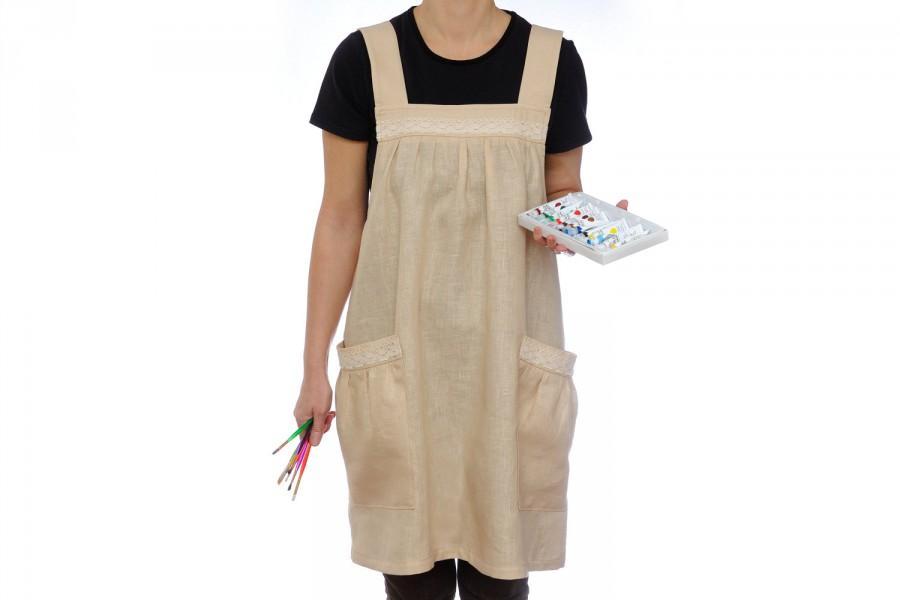 Natural Linen Overalls Linen Apron Dress Tunic Linen Apron Japanese Apron Full Apron Womens