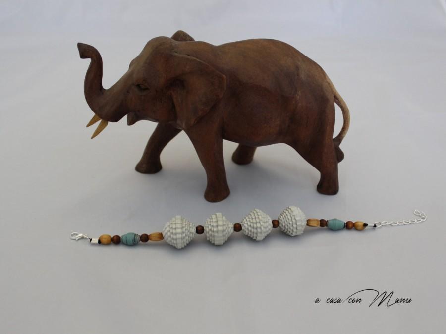 Wedding - Bracciale con perle di carta, bracelet with pearl paper, perle di cartoncino ondulato, gioielli ecologici, idea regalo, handmade