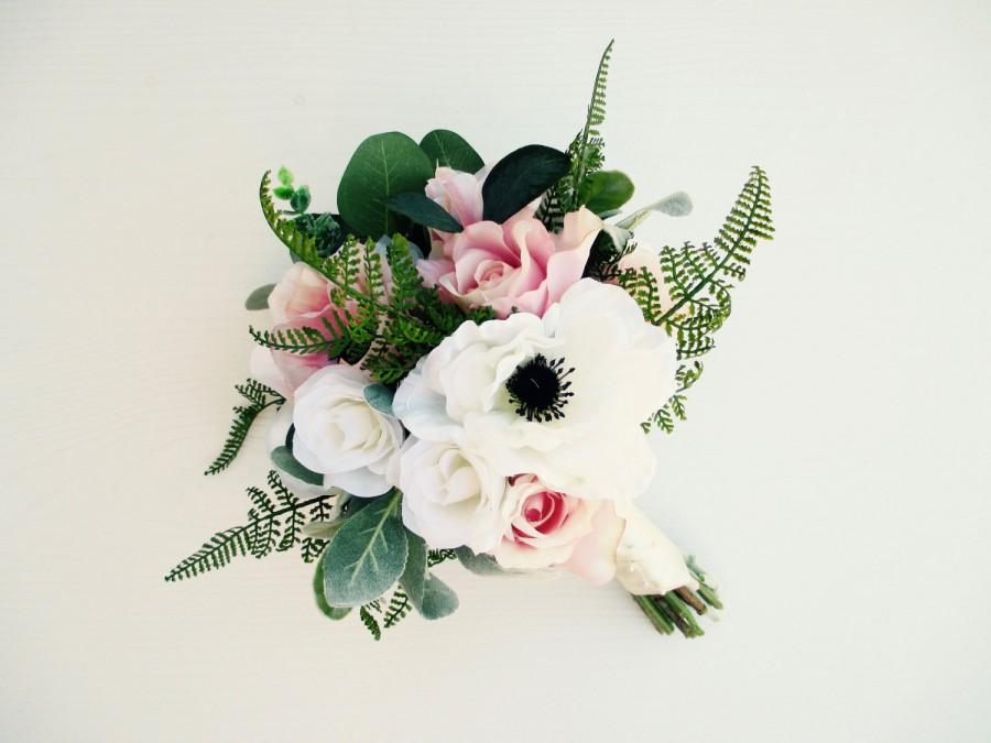 Mariage - Blush & Pink Garden Boho Bouquet, Bridal Bouquet, Blush Wedding Bouquet, Modern Bouquet, Rose Bouquet, Ranunculus Bouquet, Pink Roses, Silk
