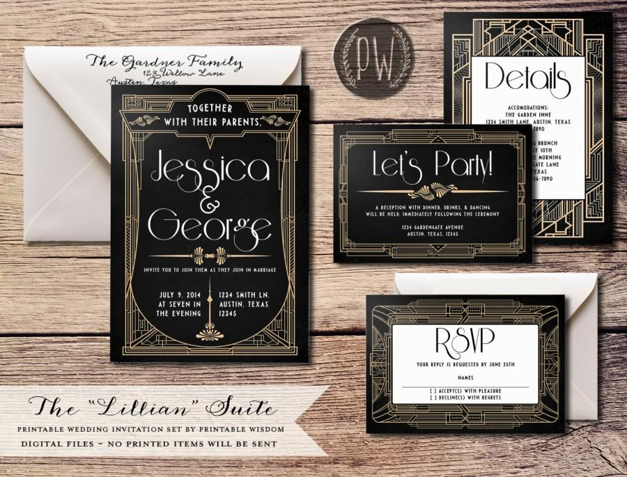 Hochzeit - Art Deco Wedding Invitation Suite printable wedding invitation invite roaring twenties invitation 20's wedding invite PDF DIY Do it Yourself
