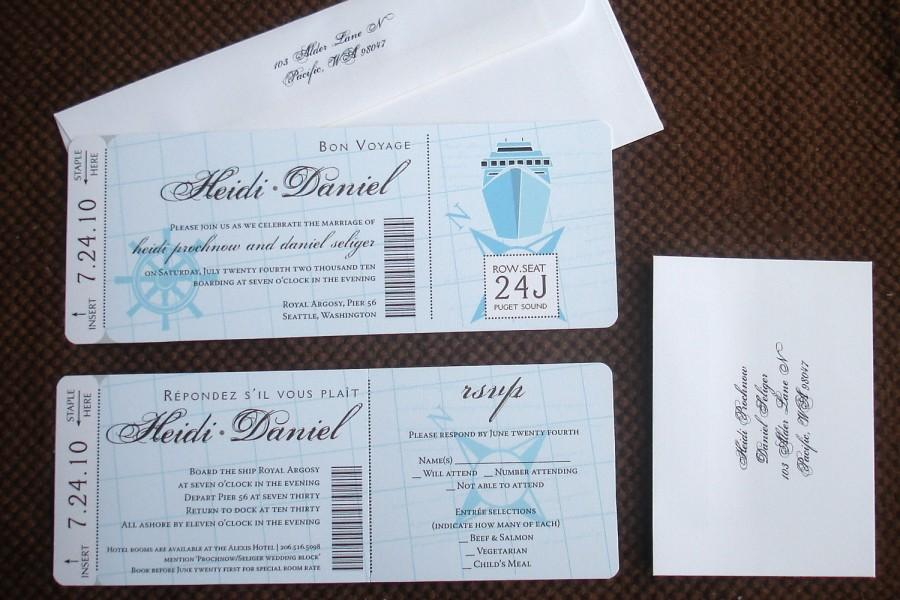 Cruise Wedding Invitation Wording Examples: Nautical Wedding Boarding Pass Invitation, Tropical