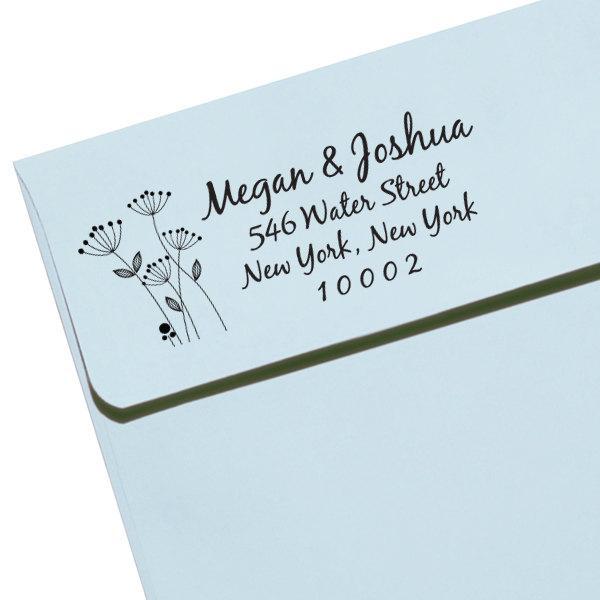 زفاف - CUSTOM ADDRESS STAMP with proof from usa, Eco Friendly Self-Inking stamp, address stamp, library stamp, calligraphy designer stamp flower3