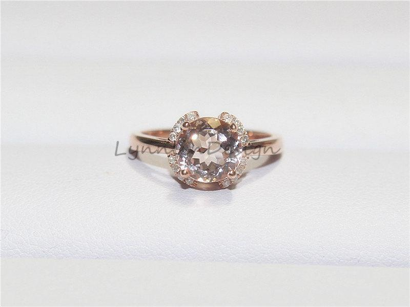 Wedding - 14K Rose Gold Engagement Ring 8mm Brilliant Cut Morganite Ring Unique Halo Diamond Morganite Engagement Ring Gem Engagement Ring Gem Ring