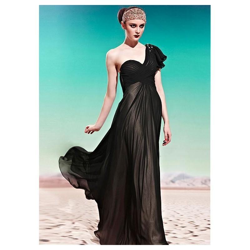 Hochzeit - In Stock Brilliant Sheath One Shoulder Neckline Black Floor-length Party Dress Formal Event Dress - overpinks.com