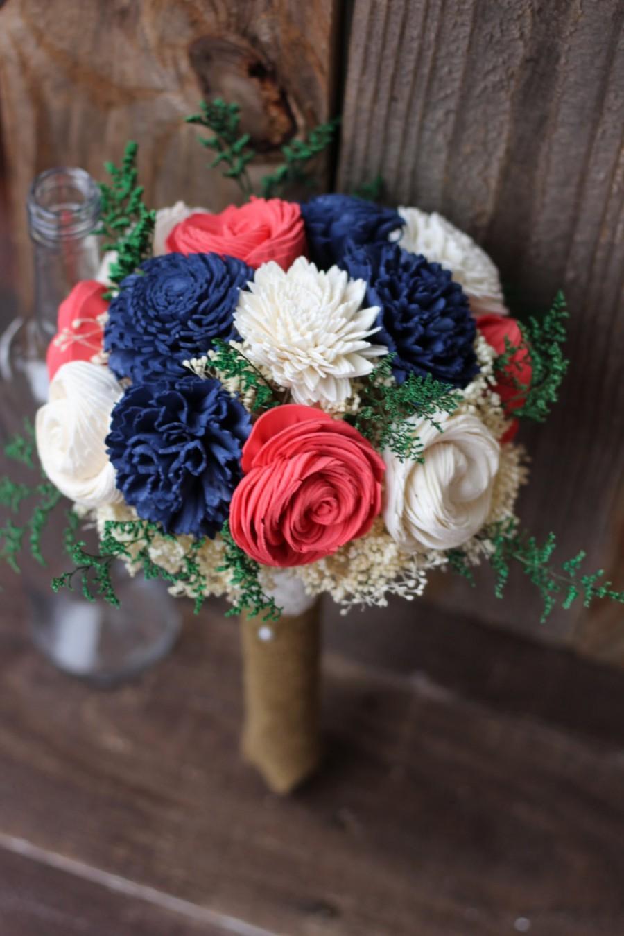 Mariage - Sola bouquet, keepsake bouquet, wedding flowers, rustic wedding, deep navy deep coral bouquet