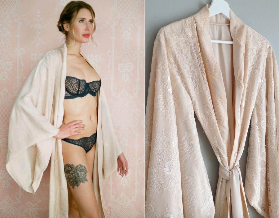 "Mariage - Fountainbleu. Full length lined ""Noguchi"" lace robe Long nude blush bridal lingerie robe lined with the softest faux silk crepe de chine"