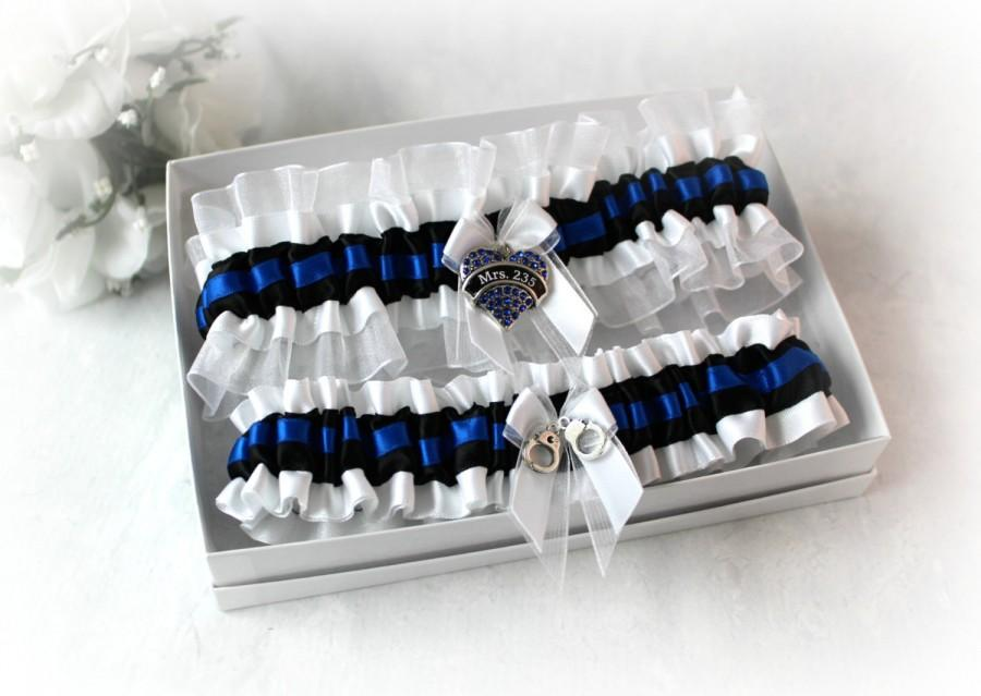 Mariage - Police Wedding Garter - Bridal Garter Set - Blue Line Wedding - Personalized Garter - Personalized Charm - Something Blue.
