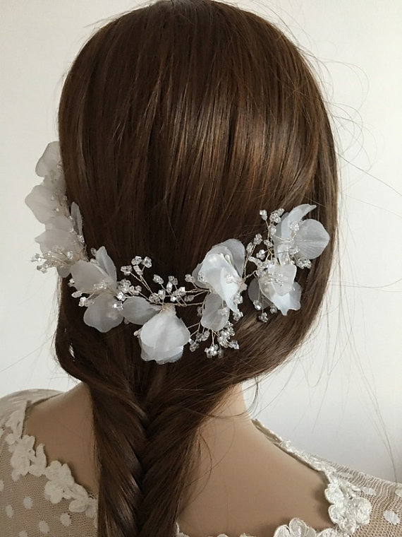Wedding - Bridal Hair vine, 3D floral hair vine , Bridal hair piece, Wedding hair piece, Floral vine, Bridal hair comb, Bridal hair accessories