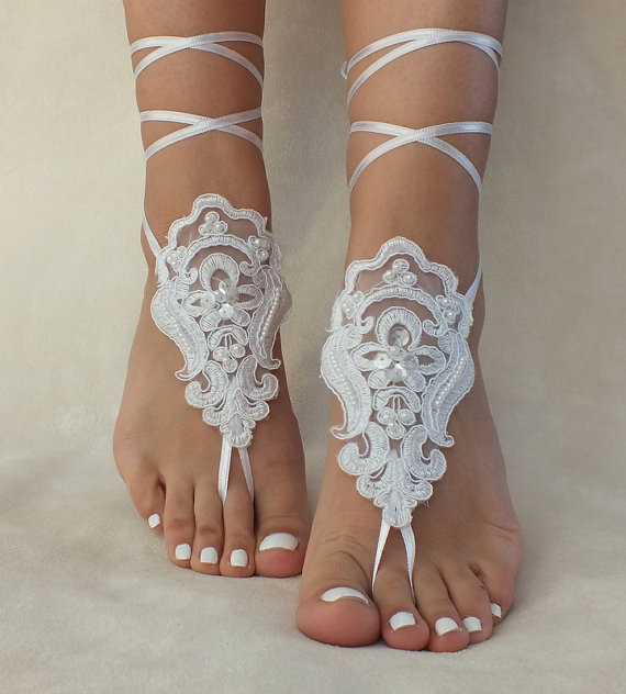 271ad4a85 White Lace Barefoot Sandals