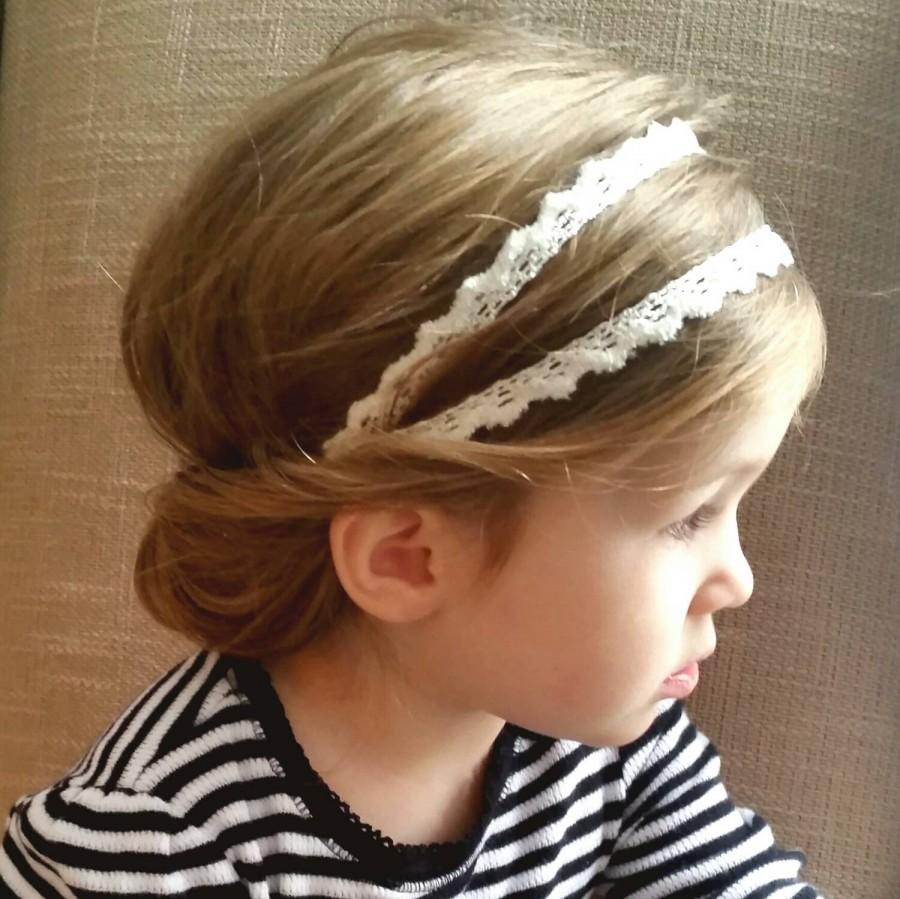 Düğün - Boho Lace Headband * White Ivory Hippie Headpiece for Babies, Toddlers, and Girls * Double Strand