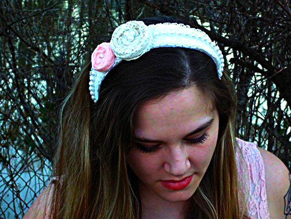 Wedding - Lace and pearl headband