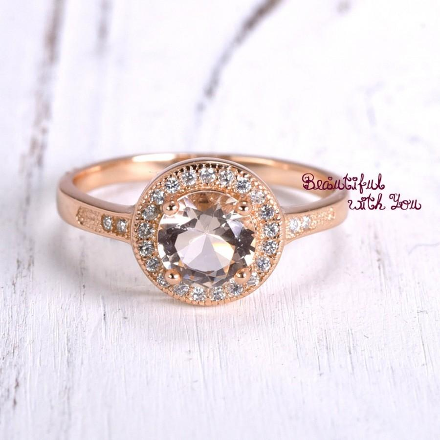 Mariage - Wedding Ring Rose Gold Plated Sterling Silver Wedding Morganite Cubic Zirconia Sparkling Engagement Band Anniversary Ring