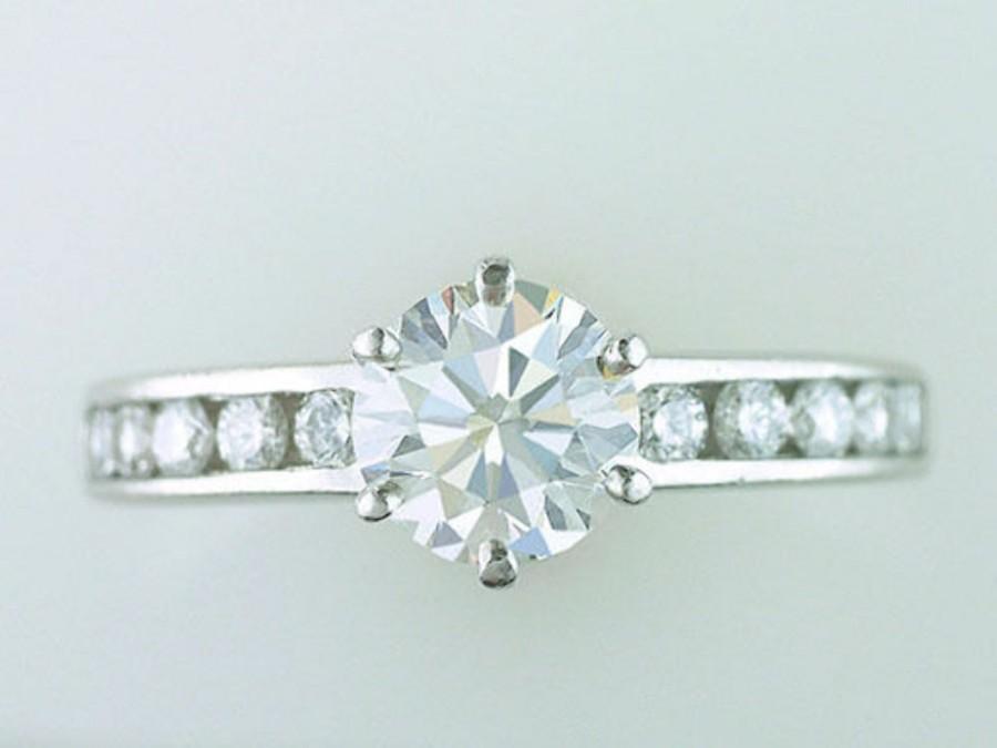 زفاف - Tiffany & Co. GIA Certified 1.41ct H-VS2-Ideal Diamond Platinum Engagement Ring