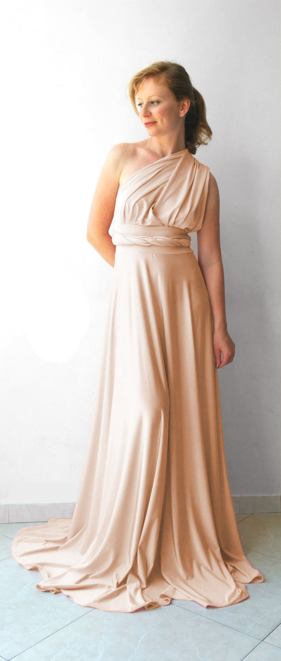 Wedding - Champagne  infinity dress - floor length   wrap dress  +55 colors