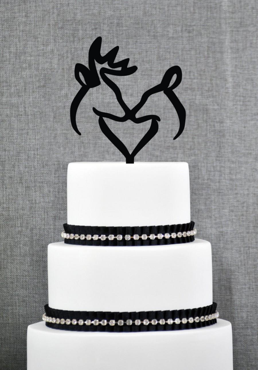 Mariage - Buck and Doe Heart Wedding Cake Topper, Romantic Deer Cake Wedding Cake Topper, Hunter Theme Wedding Cake Topper- (T254)