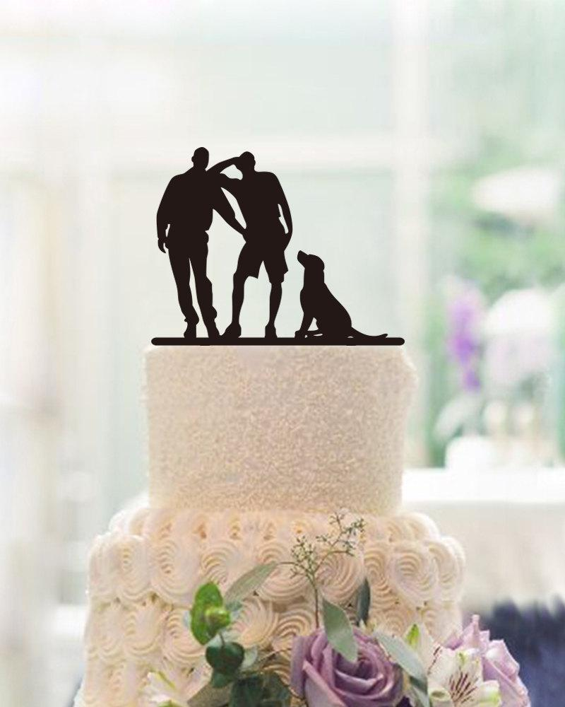 Свадьба - Cake Topper With Dog,Same Sex Cake Topper,Wedding Cake Topper,Silhouette Cake Topper,Gay Cake Topper,Unique Cake Topper For Wedding Decor