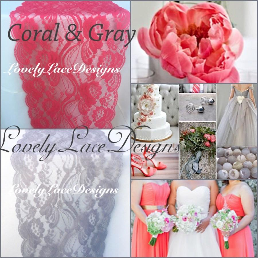 CORAL/GREY Weddings/ Lace Table Runners/3ft-10ft Long X 7in Wide ...