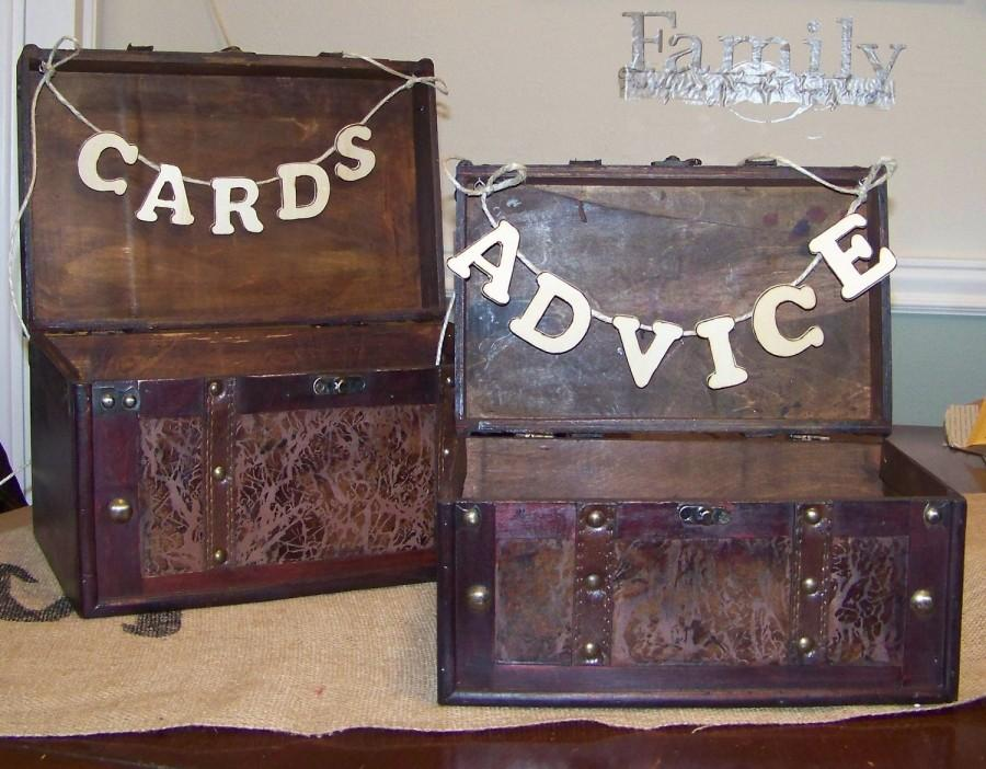 Mariage - Rustic Wedding Cards and Advice Boxes Set of 2