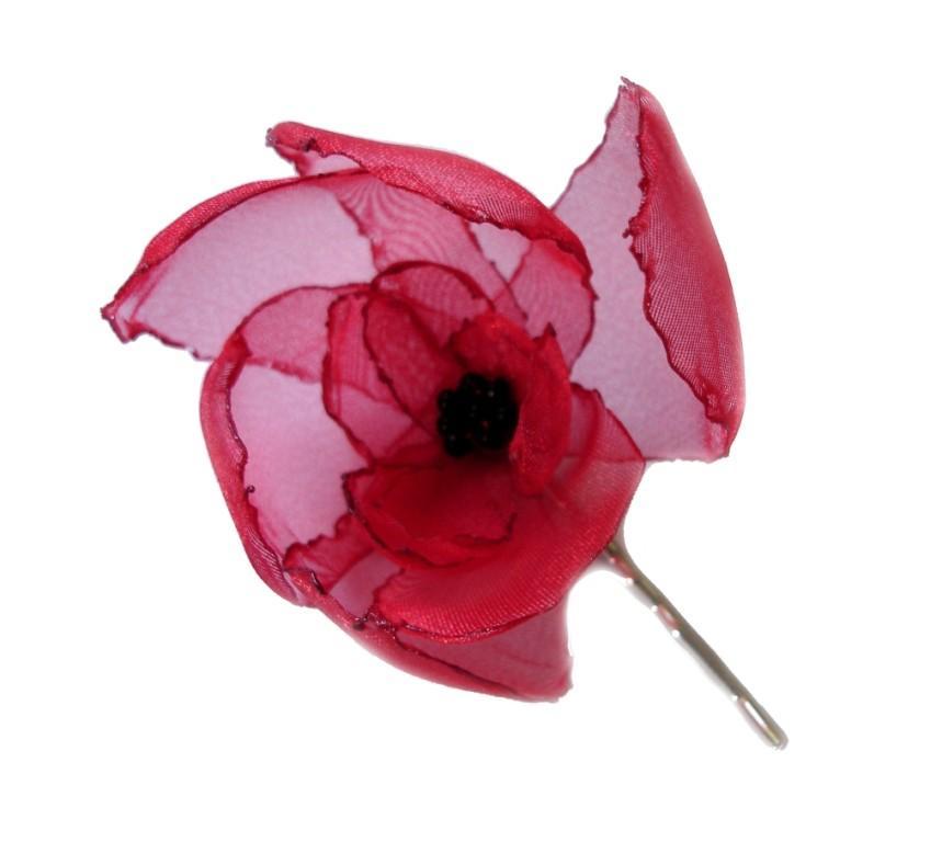 Wedding - romantic red poppy rose blossom flower bobby pin