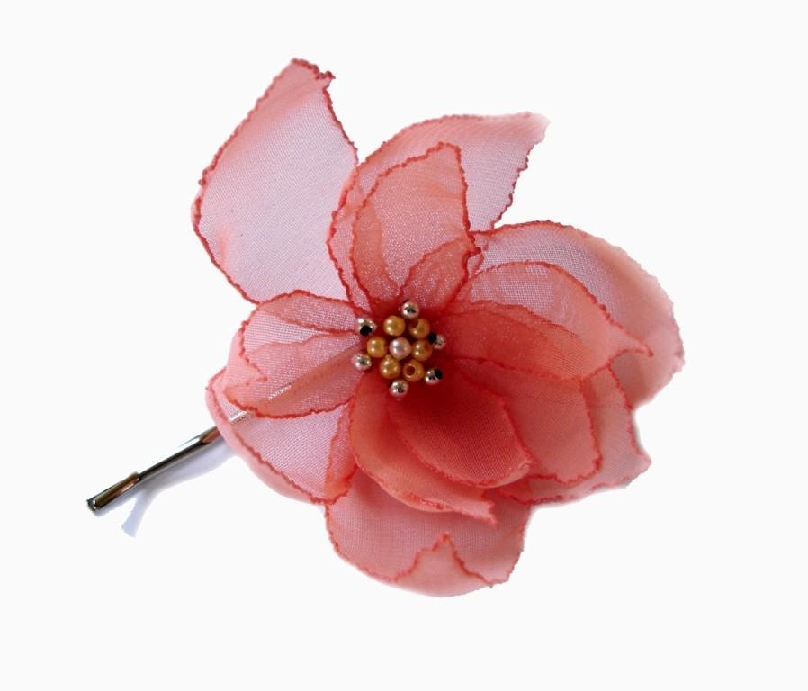 Wedding - romantic salmon coral lilium christmas flower bobby pin