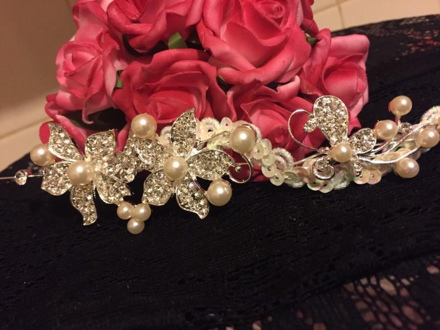 Mariage - Rhinestone Bridal hair piece, Bridal Crown, Bridal Pearl Tiara, Flower wedding headpiece, bridal hair accessories, sequins, wedding tiara.