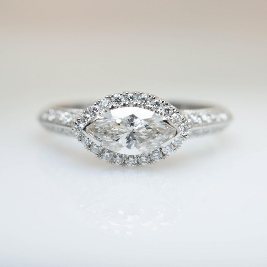 East West Bands: East West Marquise Diamond Engagement Ring 14k White Gold