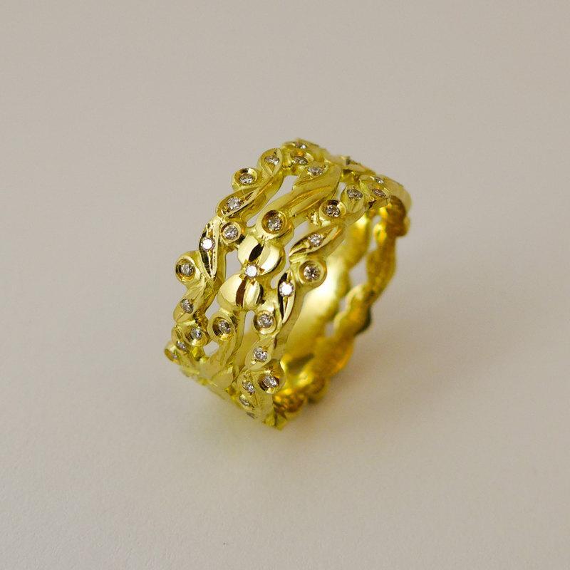 زفاف - Unique engagement ring, Diamonds engagement ring, Floral engagement ring, Wide engagement ring, 14 karat gold and diamonds wedding ring