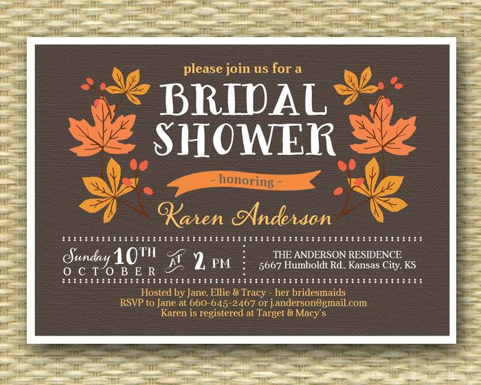 Düğün - Fall Bridal Shower Invitation Rustic Fall Autumn Shower Leaves Wreath, ANY EVENT, Any Colors
