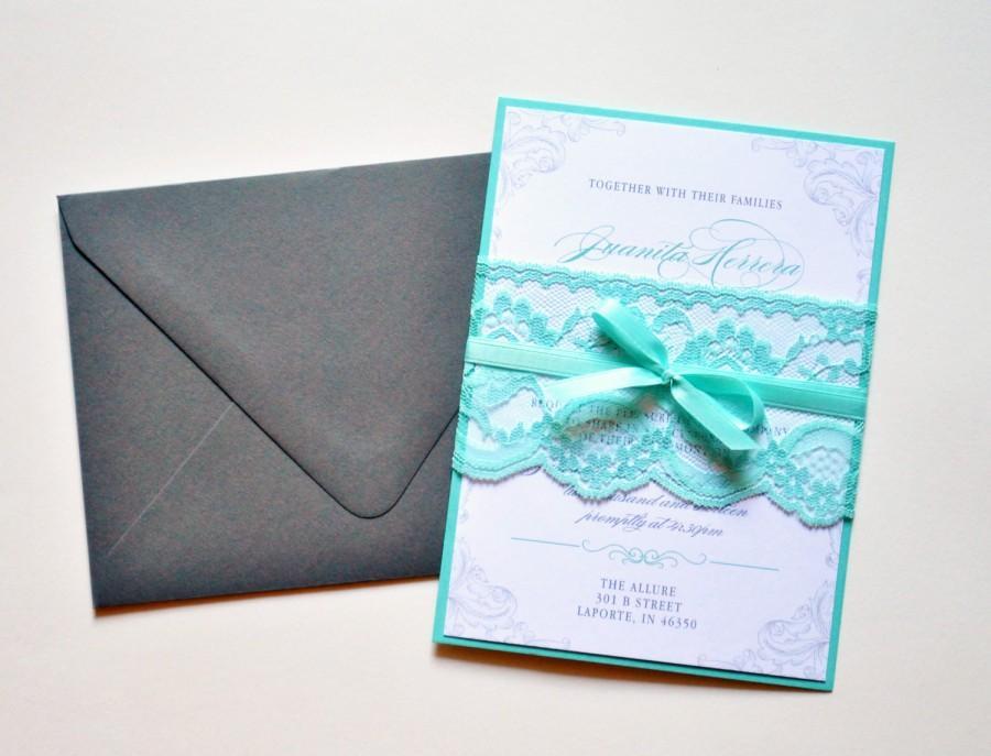 Mariage - Teal Lace Wedding Invitations, Custom Lace Wedding Invitation, Teal Wedding Invitation Card, Custom Wedding Invitations - Wedding Invitation