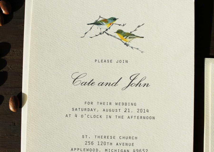 Mariage - Bird Wedding Invitation Vintage Rustic Wedding Invitation Printable DIY Or Ship