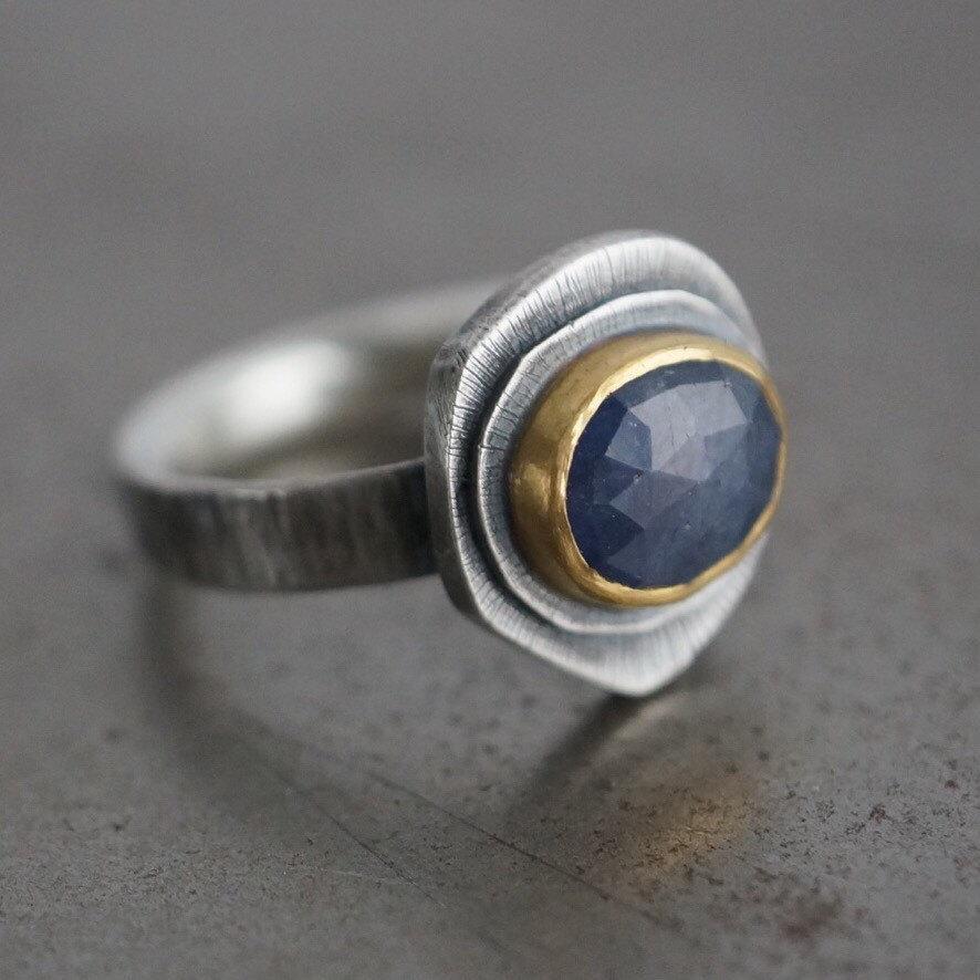 زفاف - Blue sapphire and 24K gold ring, size 7.5, gemstone sterling ring, statement ring, organic ring, natural design, alternative wedding