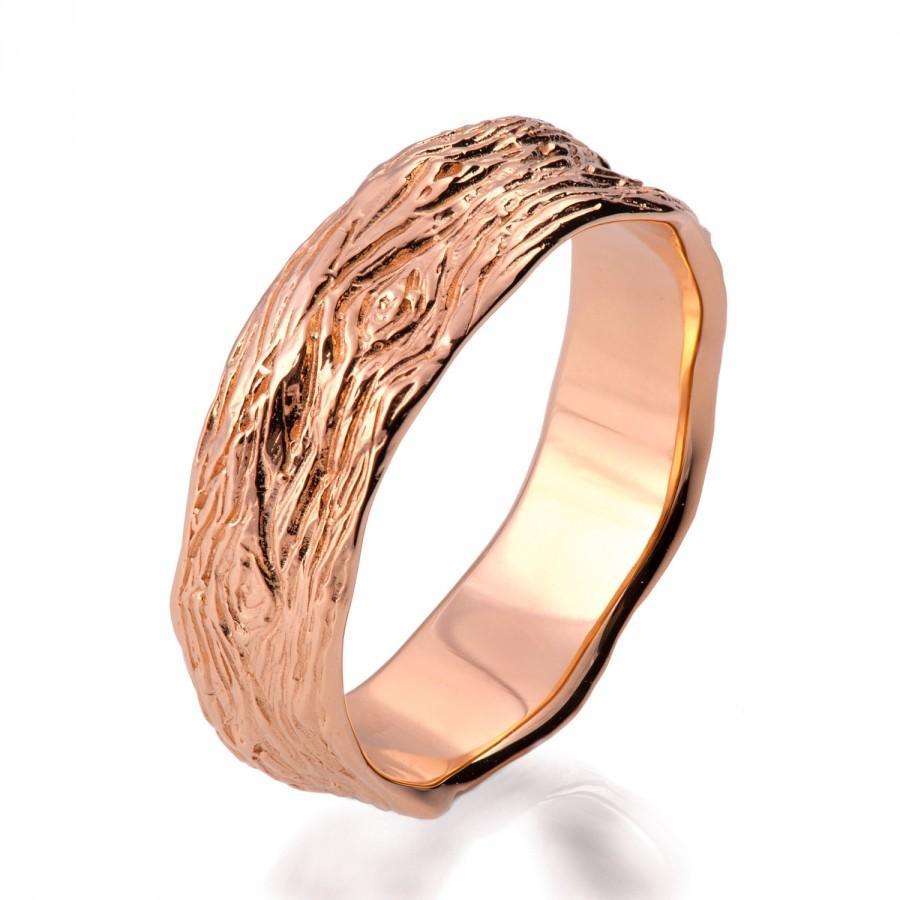 Wedding - Twig Ring, 18K Rose Gold Ring, unisex ring, wedding ring, 6mm wedding band, antique, art nouveau, vintage, bark ring, wood ring, rough, 9