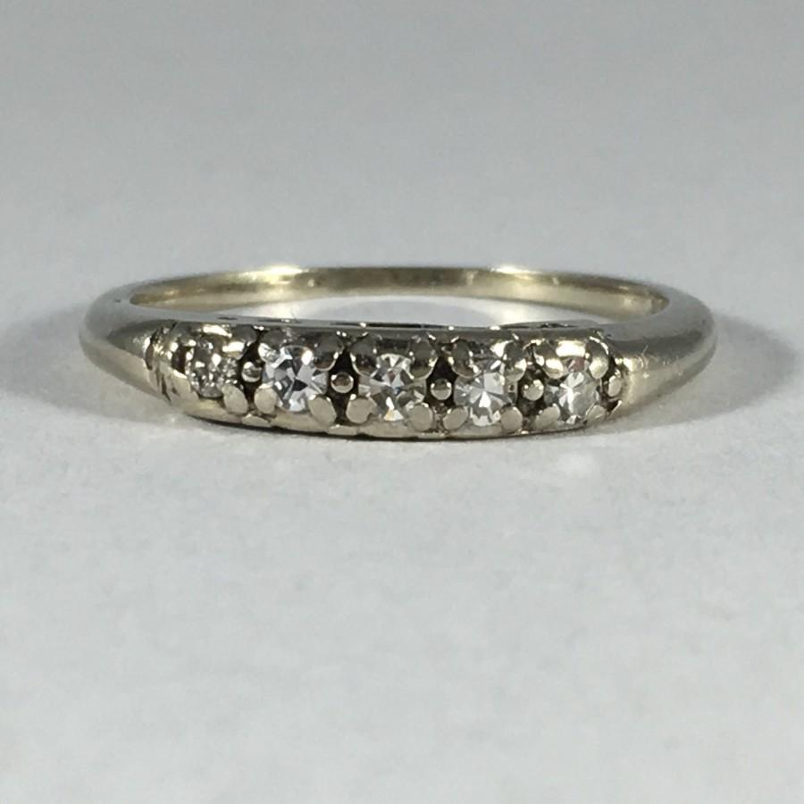 Vintage Diamond Wedding Band 14K White Gold April Birthstone 10th