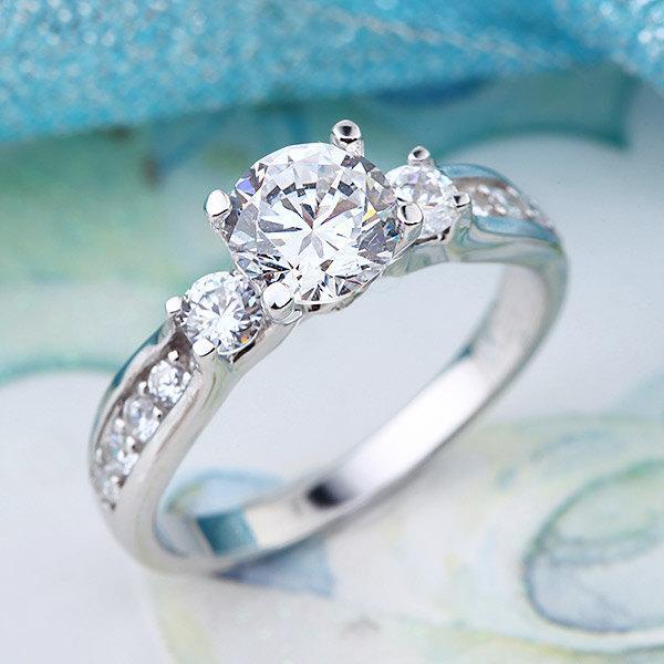 زفاف - Lab Created Diamond Wedding Promise Ring Fine 925 Sterling Silver Jewelry Three-Stone