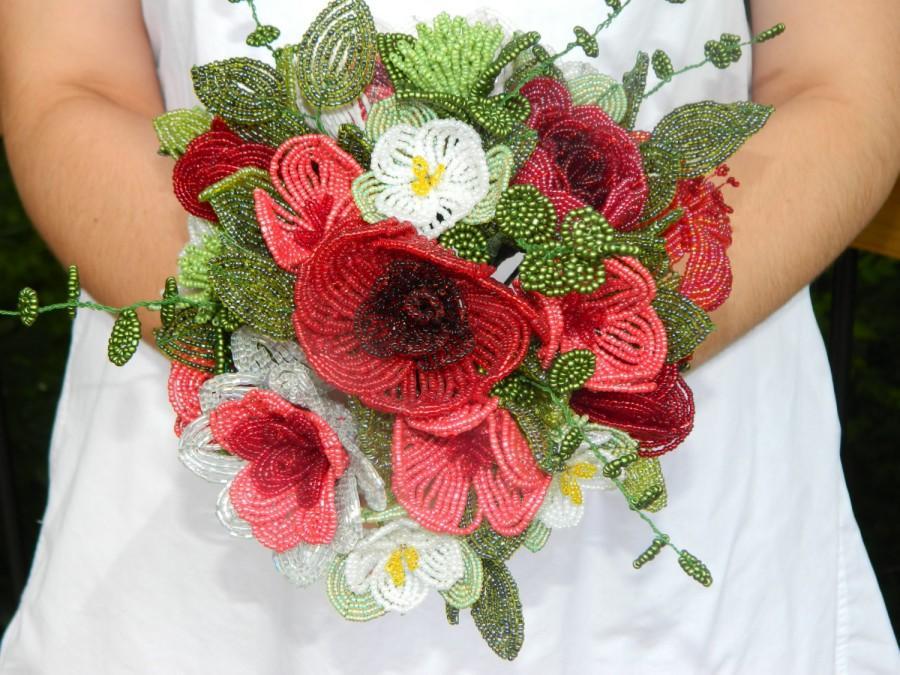 Mariage - French Beaded Flower Bouquet Arrangement