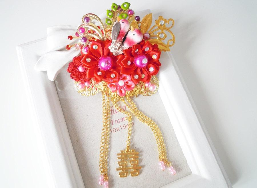 Düğün - Chinese wedding~Asian wedding~qipao~Asian wedding favors~Double happiness wedding favor~Chinese hair comb~Magpie couple birds symbol of love