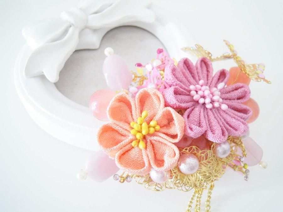 Mariage - Spring is coming~Tsumami Kanzashi hair clip~bridal shower~Geisha Maiko~Chirimen Fabric~Bridesmaid gift~Kanzashi flowers