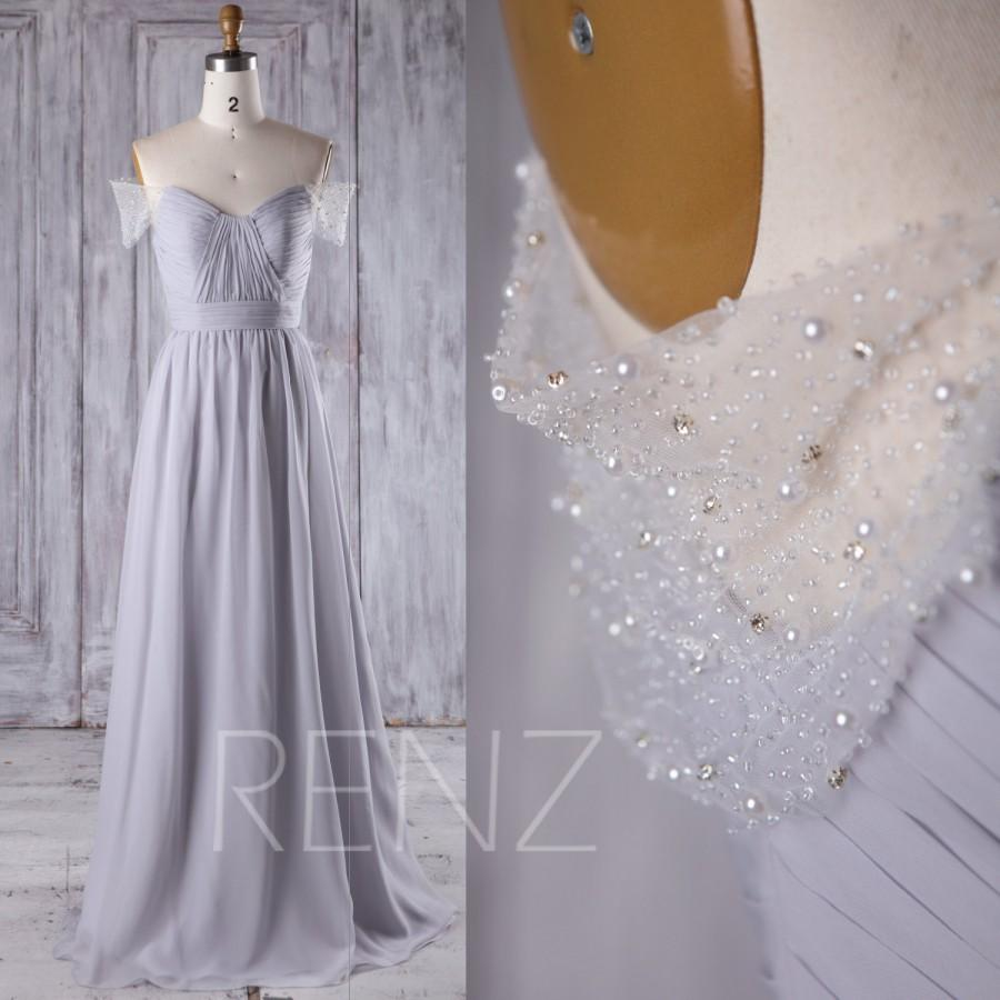 Düğün - 2016 Light Gray Chiffon Bridesmaid Dress Long, Sweetheart Wedding Dress, Off Shoulder Prom Dress, A Line Ball Gown Floor Length (L235)