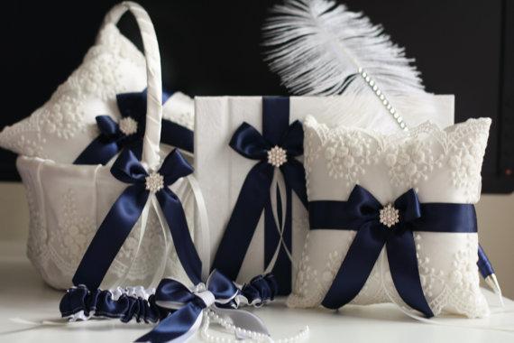 Wedding - Blue Wedding Basket   Navy Bearer Pillows   Guest Book with Pen   Bridal Garter Set  Lace Ring Bearer Pillow   Flower Girl Basket Set