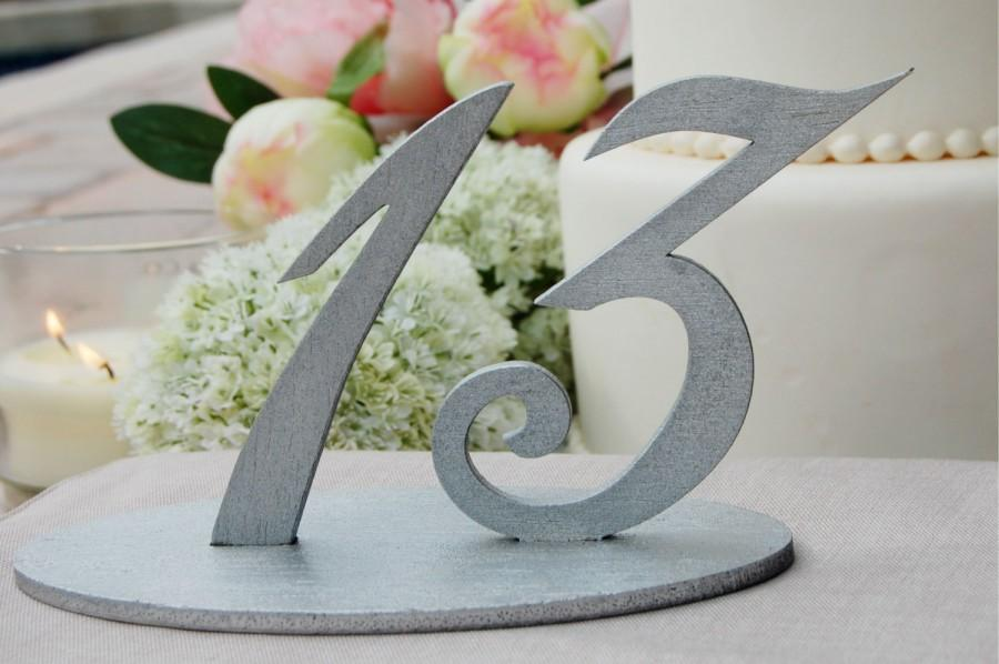 Silver Wedding Table Numbers Number Signs Reception Decor Centerpiece