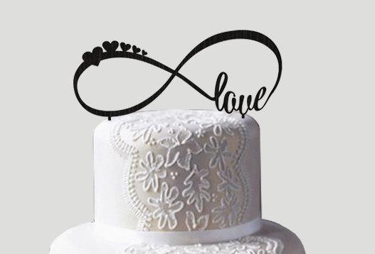 Mariage - infinity love cake topper wedding cake topper personalized cake topper rustic wedding cake topper custom cake topper wood cake topper